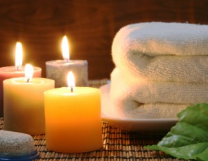 Towel and candles